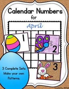 This product contains 3 complete sets of printable calendar numbers appropriate for the month of April.