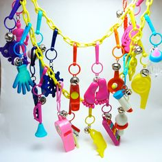 Vintage 1980s Plastic Bell Charm Necklace with 21 Charms