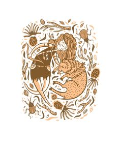 "Tara Murino-Brault ""The Maiden and the Boar"" Screen print"