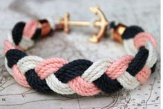 DIY anchor braid bracelet. Love the colors!! anchor is adorable!