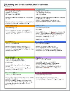 Coral Canyon Elementary School Counseling: Guidance Calendar