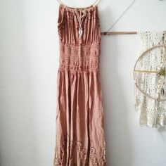 Boho Hippie brown embroidered dress This is a one size brown dress that has embroidered details on the top and bottom. It has a stretch waist. Worn once. Fashion Terminal Dresses