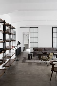 Bohemian luxury apartment in Vienna, contemporary rustic industrial interior design, loft design. Interior Concept, Design and Curation by Annabell Kutucu. Photography by Claus Brechenmacher Loft Design, Küchen Design, Modern House Design, Nordic Design, Design Styles, Design Ideas, Bachelor Apartment Decor, Apartment Interior, Apartment Layout