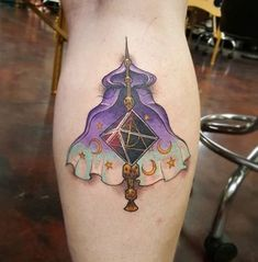 35 Enchanting Harry Potter Tattoos   --- @benjibaakar on instagram. --- invisibility cloak tattoo. harry potter leg tattoo. calf tattoo.