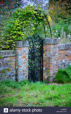 Stock Photo - Garden gate and arch with old red brick wall and green vine, red berries and garden lawn Red Brick Walls, Red Bricks, Red Berries, Garden Gates, Vines, Arch, Outdoor Structures, Green, Garden Doors