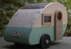 Bird House Trailer - Tear Drop birdhouse - Blue/White teardrop birdhouses on Etsy, $42.95