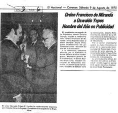 Orden Francisco de Miranda a Oswaldo Yépes. Publicado el 9 de agosto de 1975.