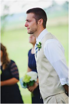 A MUST: Get a picture of the groom's face when he sees you walk down the aisle!