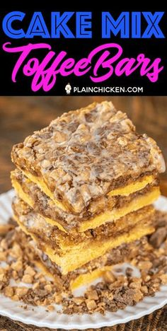 Cake Mix Toffee Bars - only 5 ingredients! Cake mix, eggs, butter, toffee bits and sweetened condensed milk. I took these to a party and they were gone in minutes! I always double the recipe now because everyone goes crazy over this easy dessert! Cake Mix Desserts, Cake Mix Recipes, Cookie Desserts, Candy Recipes, Easy Desserts, Baking Recipes, Cookie Recipes, Delicious Desserts, Dessert Recipes