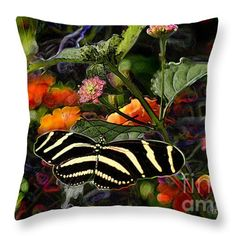 """""""Butterfly Garden 14 - Zebra Heliconian"""" © E. B. Schmidt. All Rights Reserved. Butterfly decor throw pillow. (Available as prints, canvas, metal, and more.) www.ebschmidt.com #art #schmidt #butterflies #butterflyart"""