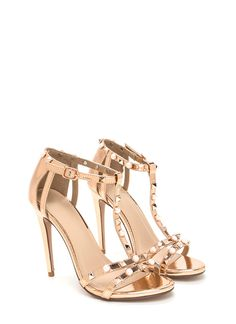 4e760819581 Studded With Pearls Metallic Heels ROSEGOLD