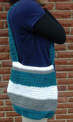 Crochet Tote Bag  Medium Tote Bag  Blue Bag  by ShamisesBlissful... i want to make this.