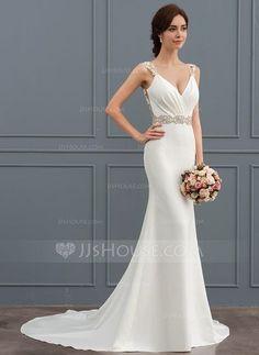[US$ 177.19] Trumpet/Mermaid V-neck Court Train Satin Wedding Dress With Lace Beading