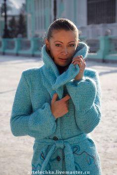 """Пальто """"На бирюзовом облаке"""" - пальто,пальто вязаное,оригинальное,стильно"""