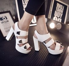 2015 summer new woman heels platform sandals hollow thick with high-heeled white sandals woman shoes Black Blue