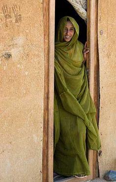 Bedouin woman- love the pistachio green colour