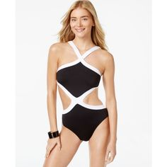 Kenneth Cole Colorblocked Monokini One-Piece Swimsuit (1.695 ARS) ❤ liked on Polyvore featuring swimwear, one-piece swimsuits, black, bikini bathing suits, monokini swimsuit, one piece bathing suits, one piece swimsuits and kenneth cole swimsuits