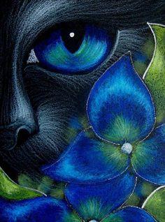 Art: BLACK CAT BEHIND THE HYDRANGEA FLOWERS 7 by Artist Cyra R. Cancel