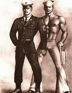 Tom of Finland Tom of Finland original fine art print depicting a military officer and a sailor Untitled. 11 x inches. Tom Of Finland Art, Toms, Art Of Man, Adult Cartoons, Men In Uniform, Military Men, Military Officer, Gay Art, The Twenties