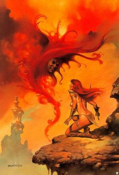 Boris Vallejo is an artist who primarily creates fantasy pieces. He often works with his wife, fellow artist Julie Bell, who also doubles as a model in a lot of Vallejo's work. Julie Bell, Boris Vallejo, Red Sonja, Fantasy Paintings, Fantasy Artwork, Face Paintings, Fantasy Posters, Fantasy Women, Dark Fantasy