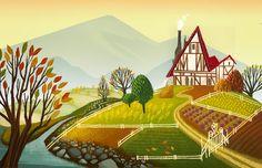 Un bel #disegno della #campagna ! #illustrazioni #animaciones #childrenbook #colors #art Angela Li