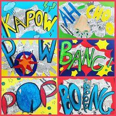 ⚡️POP ART WORDS! ⚡️ inspired by Roy Lichtenstein grade 6 students created onomatopoeia words using collage and coloured markers ✨ #artteachersofinstagram #teachersfollowteachers #teachertribe #theartlovers #art #arted #artroom #artdisplay #artteacher #artprojectsforkids #kidsart #iteachart #primaryteacher #primaryart #elementaryart #missksartroom #popart #roylichtensteinart #onomatopoeia #collage