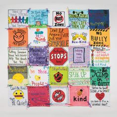 A great team building collaborative art project that can be used for Bullying Prevention! Small groups of students can work together to create one piece, then put the whole quilt together and hang it in the classroom. Bullying No Way, Anti Bullying Week, Anti Bullying Activities, Art Activities, Bullying Facts, Bullying Quotes, Cyber Bullying, Stop Bullying Posters, Senior Activities