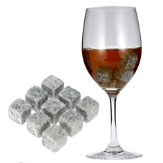 9pcs/set 18mm Nature Whisky Stones Wine Cooler Cubes Dink Beer Cooler Ice Whisky Rocks Granite with Pouch Barware Kitchen Supply
