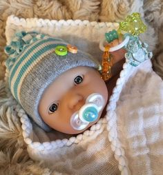 """OOAK 7 8"""" Boy Baby Doll Clothes Pacifier Toy for Micro Preemie Reborn Berenguer 