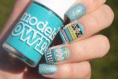 Love Nails, Red Nails, Pretty Nails, Painted Nail Art, Hand Painted, Color Block Nails, Country Nails, Nail Polish Blog, Aztec Nails