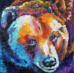 Original Grizzly Bear Mini Portrait 6x6 oil painting painted by knife