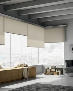 Designer roller blinds: elegant, contemporary, luxury roller blinds for home Blinds And Curtains Living Room, Home Curtains, Big Windows, Blinds For Windows, Window Blinds, Cafe Blinds, Beautiful Blinds, Sheer Roller Blinds, Blinds Design