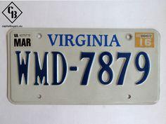Placa - Matrícula metálica original de USA - Virginia WMD 7879