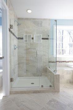 Custom framless shower door, design, idea, picture, tile, granite, shower, tub, remodeling, cabinetry, Virginia