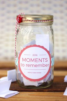 DIY Memory Jar tutorial--a great alternative to keeping a daily journal. Includes a downloadable 2016 (and 2017) jar label as well as printable ideas and prompts to fill out. Click to get the free printables. | MakeAndDoCrew.com