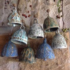 I've made lots of these textured bells for the Rustic & Rural Artisan Weekend which is happening this coming Saturday & Sunday in… Clay Art Projects, Ceramics Projects, Clay Crafts, Ceramic Pottery, Pottery Art, Ceramic Art, Hand Built Pottery, Pottery Techniques, Pottery Classes