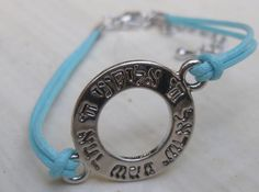 Shema Israel Kabbala bracelet light blue string Evil Eye bracelet. $5.00, via Etsy.