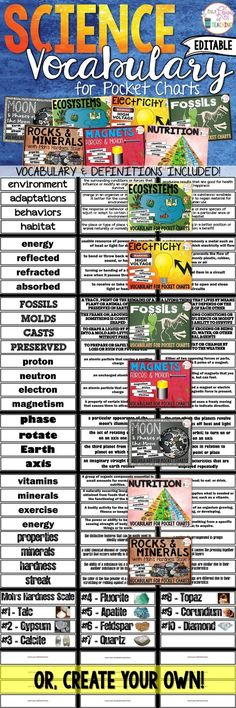 Science Pocket Chart Vocabulary Cards - perfect for pocket charts and Interactive Notebooks! Includes: Moon & Moon Phases, Ecosystems, Electricity, Fossils, Rocks & Minerals, Magnets & Nutrition.