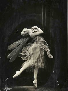 """Anna Pavlova in The Dragonfly.   Pavlova choreographed several solos herself, one of which is The Dragonfly, a short ballet set to music by Fritz Kreisler. While performing the role, Pavlova wore a gossamer gown with large dragonfly wings fixed to the back. It showcased """"her lyricism, expressiveness, and unique ability to fully embody the roles she performed."""" writes Lindsey Grites Weeks."""