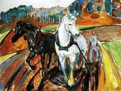 Edvard Munch - Horse Team, 1919. Oil on canvas, 145.5 x 110.5 cm. National Gallery, Oslo, Norway