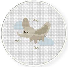 FREE Flying Dumbo Cross Stitch Pattern