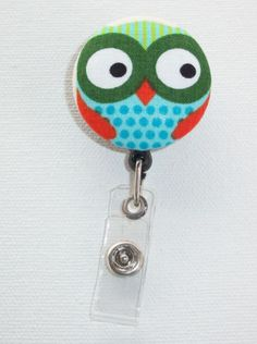 Retractable Reel ID Badge Holder   Fabric Button  Owl by Laa766, $6.00