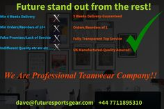 Frustrated by your existing Teamwear provider? Future Guarantee an improved #service #quality with #value.Future deliver! #nocompromises