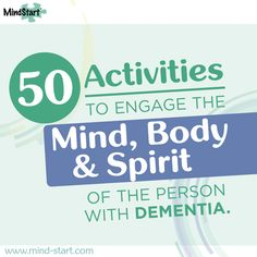 We are glad to provide this helpful idea sheet for you.  The ideas include things for both higher and lower levels of dementia, helping to keep the person mentally stimulated and active.   www.mind-start.com #MindStart #Activities #Dementia #Alzheimers #tips #AlzAwareness
