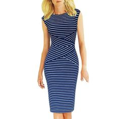 $18.51 Fashionable Jewel Neck Stripes Sleeveless Dress For Women - Blue