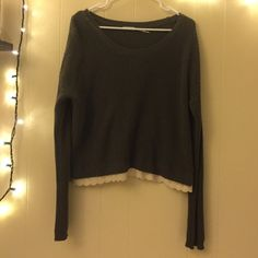 Urban outfitters olive green sweater NWOT White trim is a cute detail, nice sweater just not my color NWOT Urban Outfitters Sweaters Crew & Scoop Necks