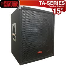 """Awesome speaker for Karaoke or the Mobile Disk Jockey. The TA-15SUB has a 15"""" woofer with a high tempered voice coil to deliver earth shaking bass. Power rating 1000 watts. This speaker has a professional carpet finish, steel corners and heavy duty handles. Inputs are dual 1/4"""" and binding post."""
