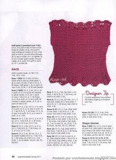 Crochetemoda: Blouse Crochet Wine
