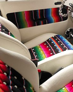 Zarape upholstery. Awesome! this will go in my electric blue flake sparkle painted 1982 Monte Carlo!