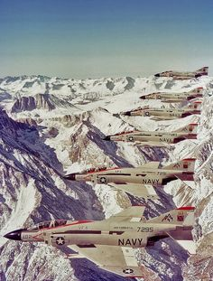 NavalAir The most colorful Navy squadron ever, VF-11 World Famous Red Rippers & their F-4Js over Alaska, 1977.